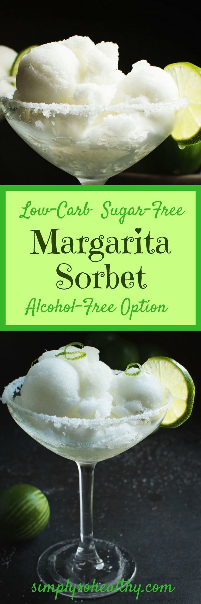 This Low-Carb Margarita Sorbet recipe makes a cooling summer dessert. It can be made with or without alcohol and works for low-carb, gluten-free, dairy-free, Atkins, ketogenic, or Banting diets.