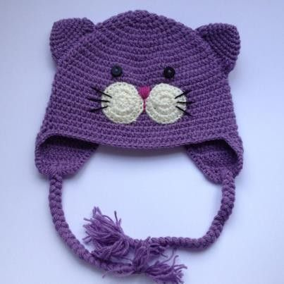 crochet kitty hat with flower - Google Search
