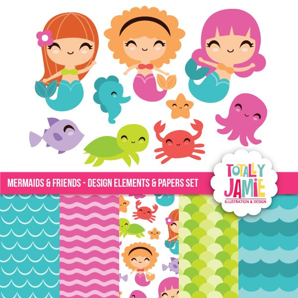 Mermaids And Friends Set - clipart and digital papers for crafts, scrapbooking, card making and more.