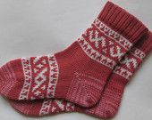 Back to school  Rosewood and white warm winter autumn fall Scandinavian pattern knit wool short socks Christmas gift CUSTOM MADE