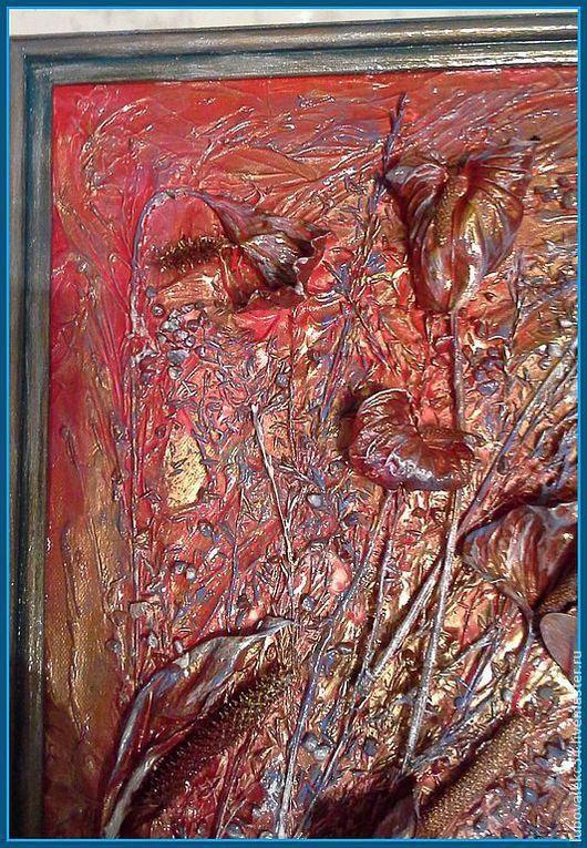Абстракция ручной работы. Ярмарка Мастеров - ручная работа. Купить 'Летняя жара'-флористическая терра.. Handmade. Флористический коллаж, стрекоза