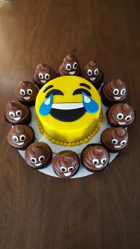 My emoji cake and poop emoji cupcakes for my dad's birthday. Made by Angies Kitchen