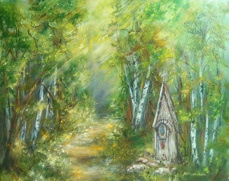 Leśna kapliczka - olej - Maria Roszkowska