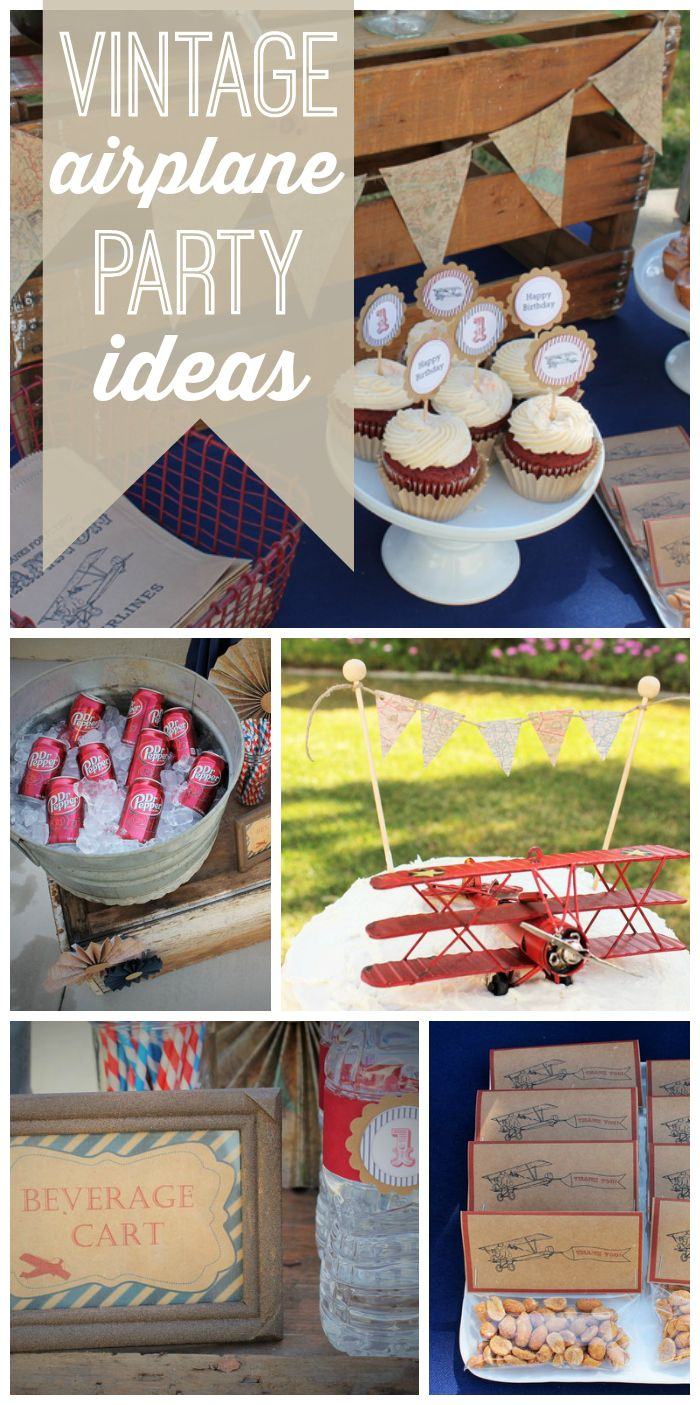 An amazing vintage airplane boy birthday party  with fun old fashioned details and decorations!  See more party ideas at CatchMyParty.com!