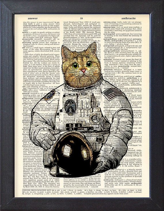 Cat astronaut, Art Print Poster, Space, Cat space suit ,DICTIONARY Print, Book Pages, Home Decor, DORM decor, Wall Art decor, CODE/050