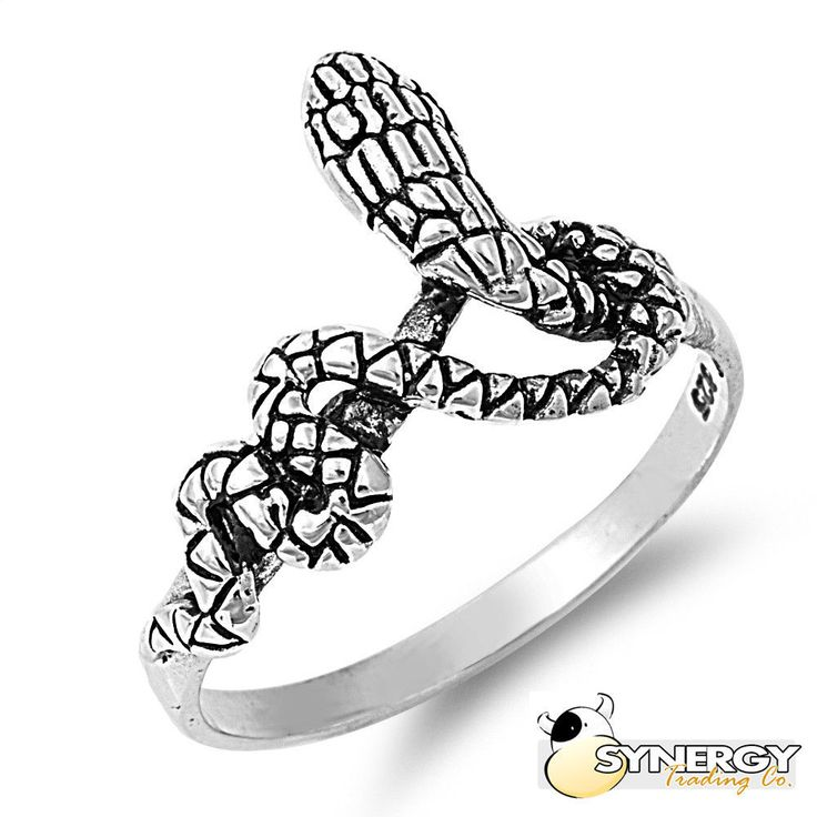 925 Sterling Silver Coil Serpent Snake Fashion Ring Size 4-11