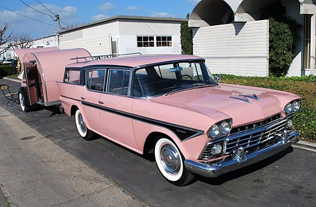 1958 Nash Rambler Cross Country with pink teardrop trailer