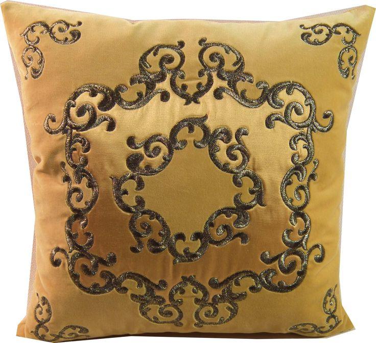 Unikatowa haftowana metalizowaną nicią w kolorze złoto-czarnym na żółtym aksamicie  poduszka z kolekcji pałacowej. Wykonywana na zamówienie. Embroidered pillow decorative