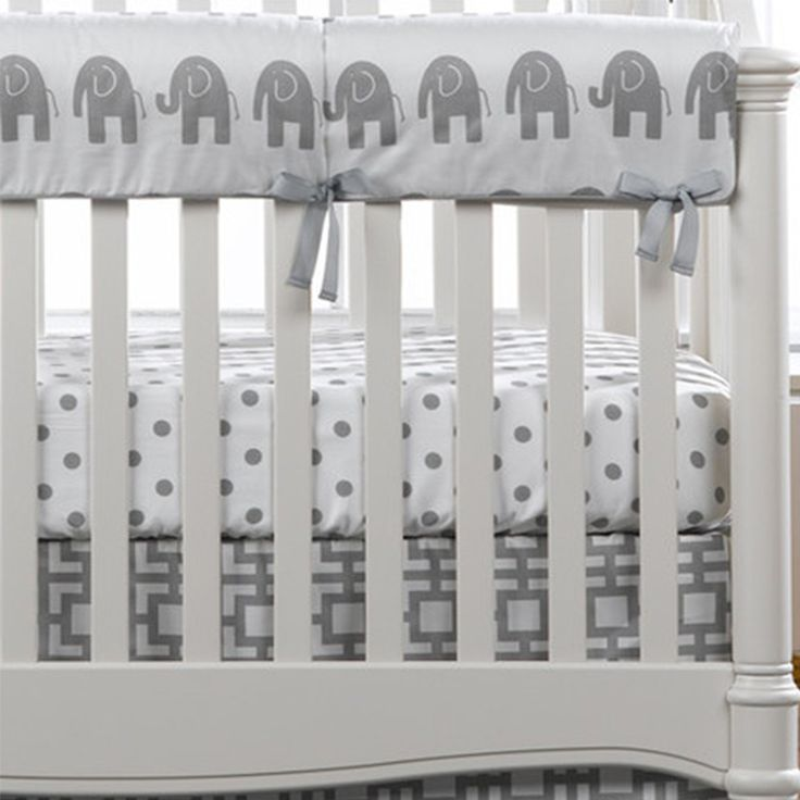 Gray Elephants Crib Rail Cover