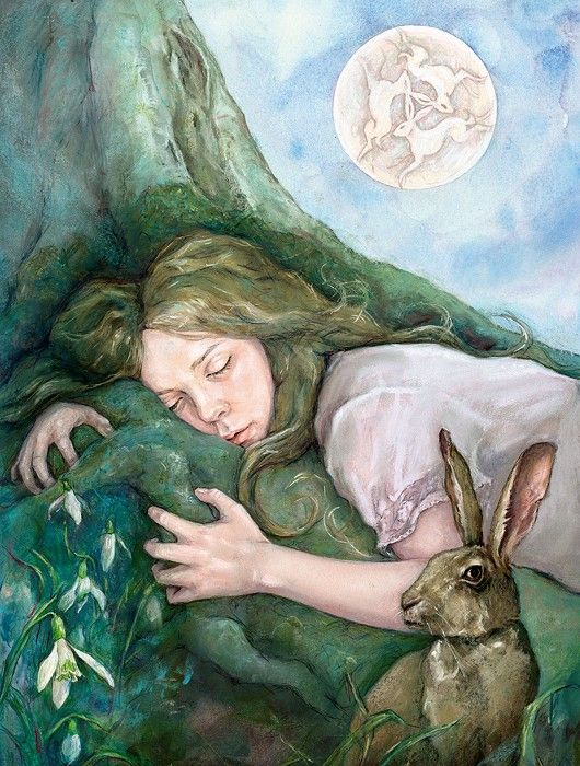 """March Moon : Julia Jeffrey : """"Snowdrops are stirring, while Spring dreaming goes deep as burrowing roots, beneath the renewing March Moon."""""""