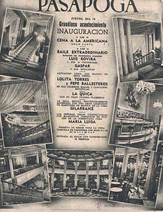Programa inauguración Pasapoga, calle Alcalá.