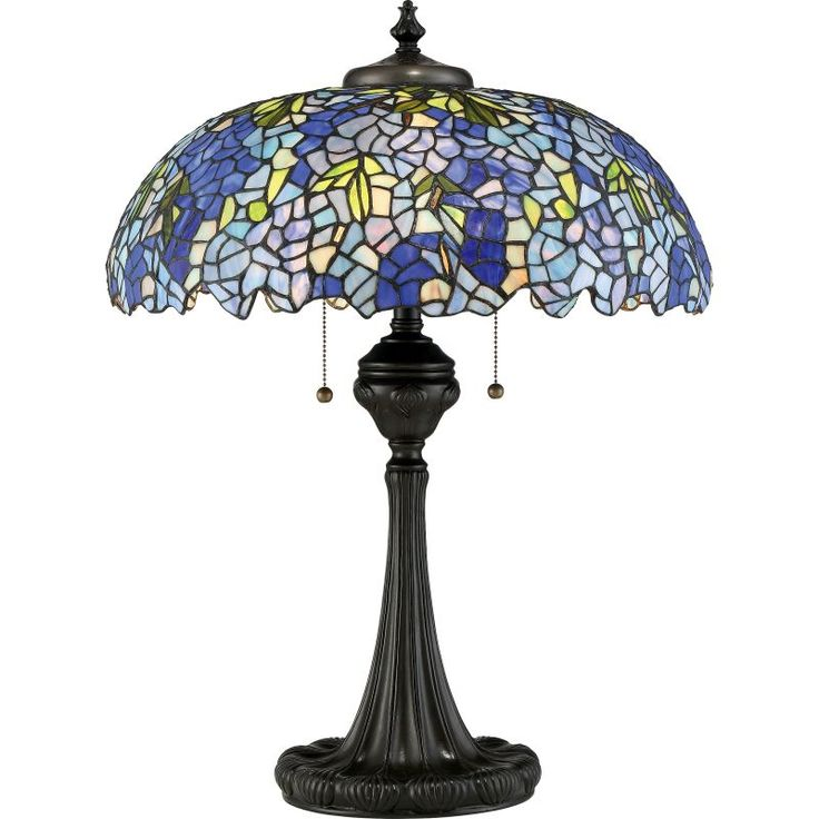 """Quoizel TF2601T Tiffany 3 Light 28"""" Tall Accent Table Lamp with Tiffany Glass Sh Vintage Bronze Lamps Table Lamps Accent Lamps"""