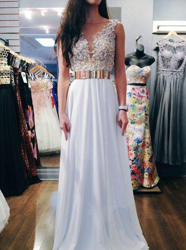 long white prom dress, 2016 prom dress, prom dress with gold belt