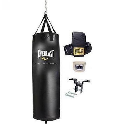 Everlast 70 Lb MMA Heavy Boxing Punching Bag Kit Wraps Gloves Kicking Training #Everlast