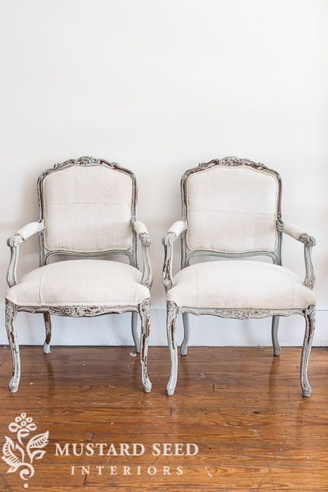 grain sack upholstered French chairs | miss mustard seed
