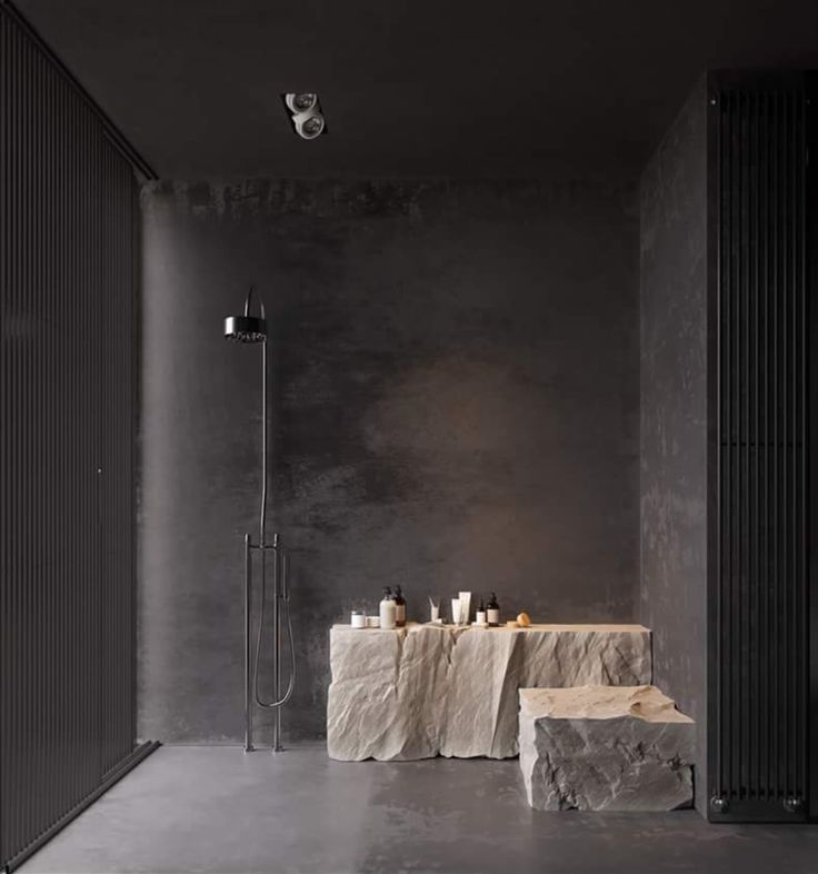 leftover stone slabs to create smooth transition between rooms ie used for bath tables