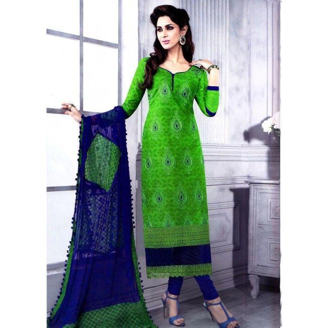 Green Floral Cotton Suit