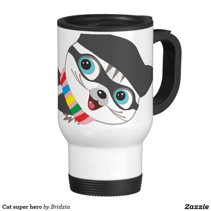 Cat super hero 15 oz stainless steel travel mug