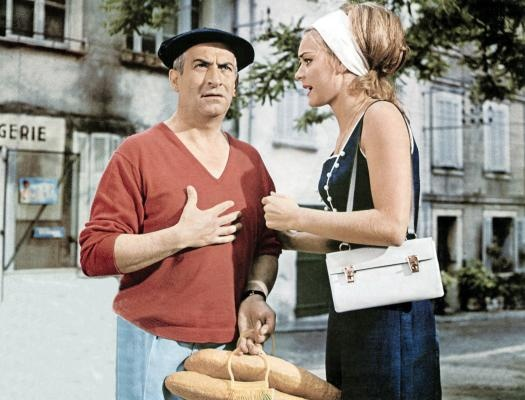 "Louis de Funès & Geneviève Grad dans ""Le gendarme de Saint Tropez""1964. I love this movie, and I adore Nicole's fashion style !"