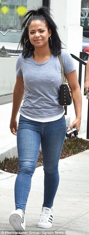 American clothing classic: Christina Milian showcased precisely how to rock skinny jeans by day and by night this week