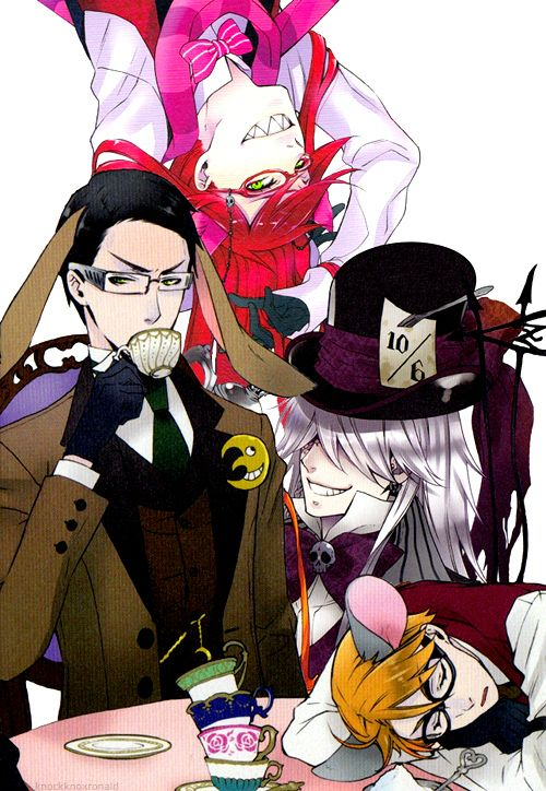 Black Butler ~~~ Life is just a party at the Shinigami Corps.  Grell Sutcliff, William T. Spears, Ronald Knox & The Undertaker