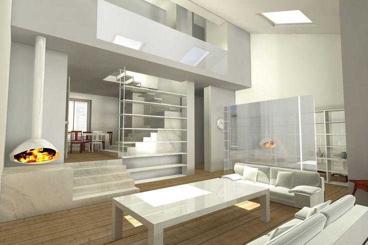 #Interiordesign #Rendering soggiorno con doppia altezza Interior design rendering Pinterest