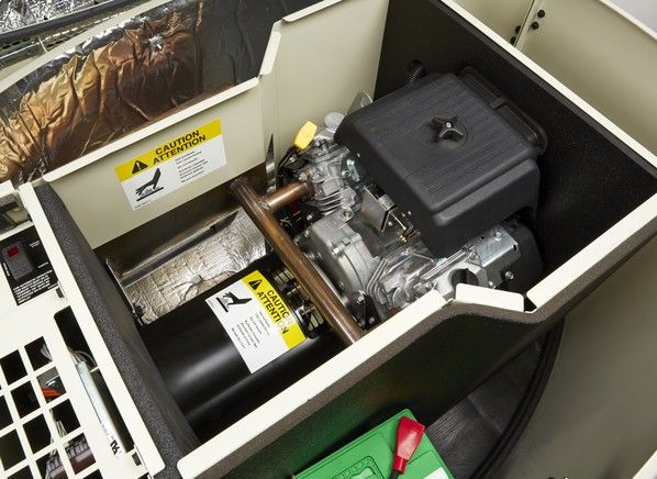 Cummins 13GSBA-6722B generator  Price  $4,300.00  This Cummins Stationary generator is natural gas or propane-powered and is rated for NG 11040 LPG 12750 watts. It has:   • electric start   • fuel shutoff   • low-oil shutoff   It requires professional installation.