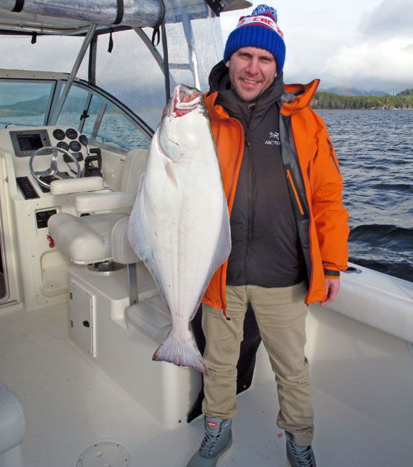 The first sport-caught halibut of the season in Tofino! Not just MY first, THE first.