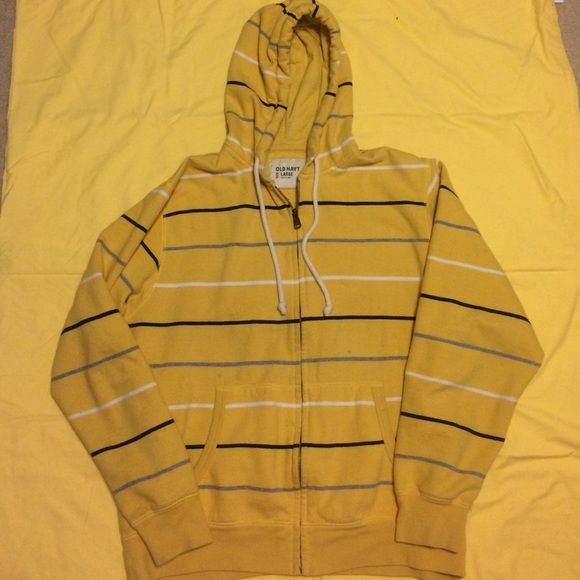 Old navy yellow hoodie! Men's large Yellow hoodie with black gray and white stripes, good strings, extremely comfy!! Old Navy Sweaters