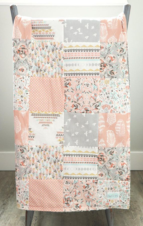 Baby Girl Nursery Blanket Blush Mint Grey Birds Floral