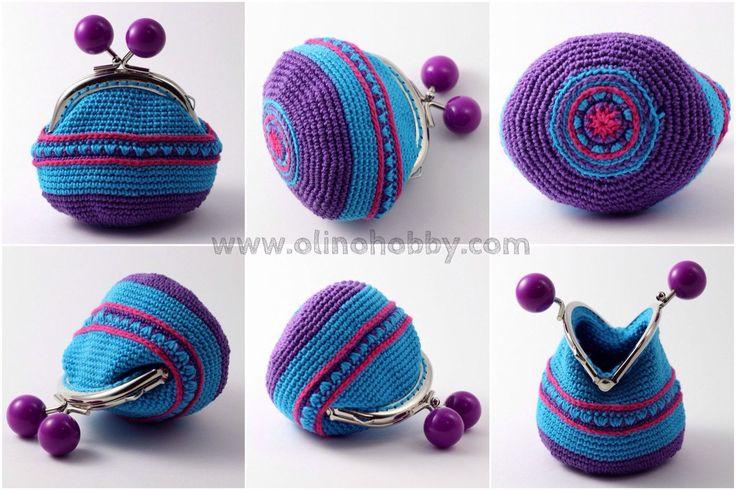 вязаный кошелек с фермуаром, вязаный кошелек на застежке с шариками, кошелек вязаный крючком, стильный вязаный кошелек с рисунком, фиолетово-голубой кошелек