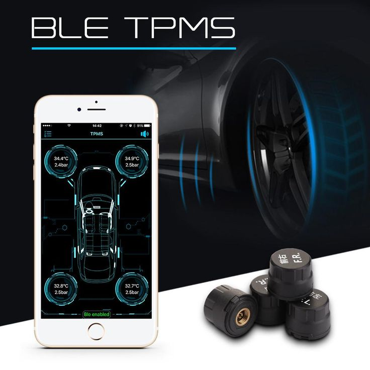 Car Tire Pressure Alarm Monitor System Bluetooth 4.0 For IOS Android Phone