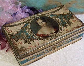Antique Tin Box, German, Art Nouveau Tin