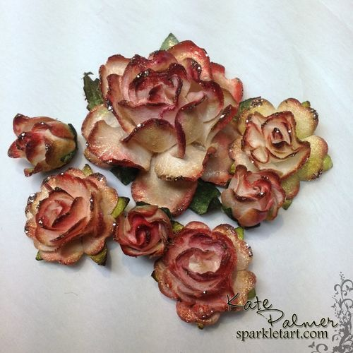 Shabby Chic Flowers using mulberry flowers, copics & stickles...Beautiful!