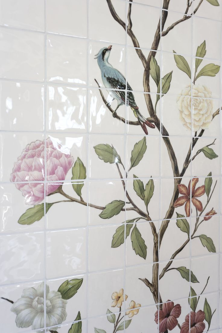 chinoiserie floral bird tile