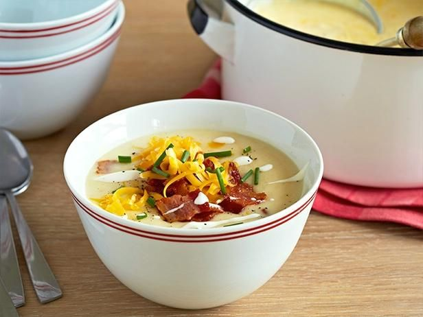Fully Loaded Baked Potato Soup : Get all of the great flavors of a fully dressed baked potato in Guy's game-day soup.