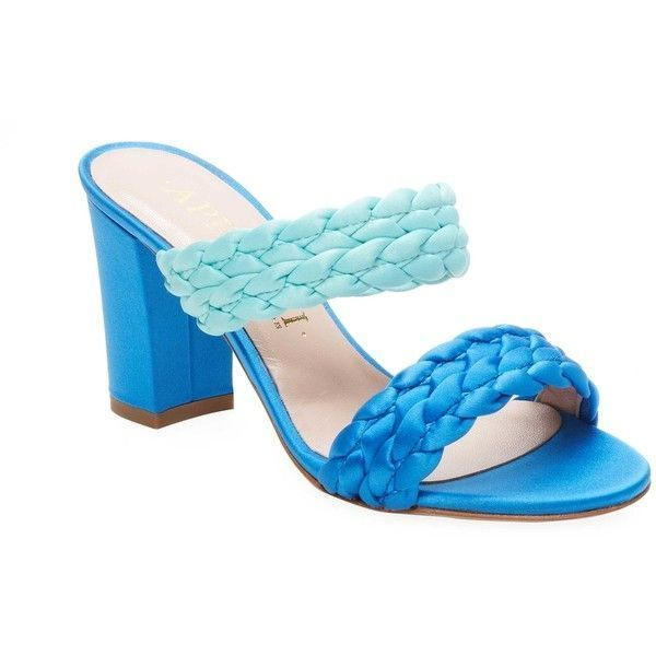 Aperlai Women's Braided High-Heel Sandal - Light/Pastel Blue, Size 36 ($399) ❤ liked on Polyvore featuring shoes, sandals, leather high heel sandals, blue heeled sandals, woven sandals, open toe heel sandals and leather shoes #pastelshoeshighheels