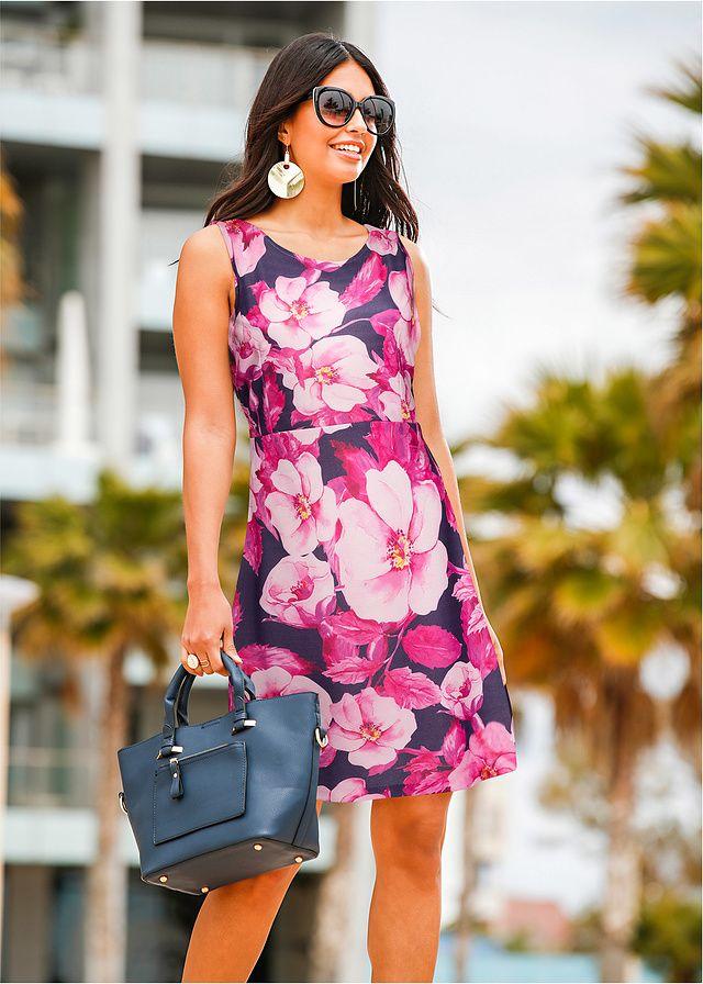 Sukienka z dżerseju z kwiatowym nadrukiem • 109.99 zł • bonprix