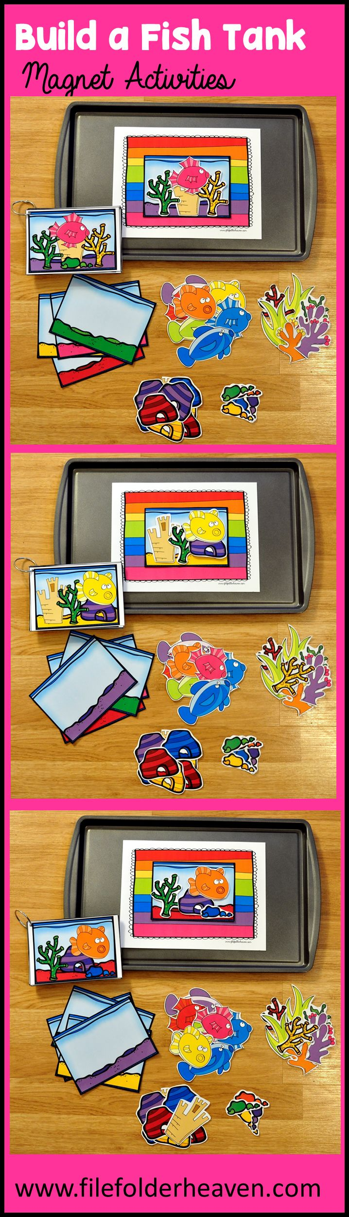 "These Build a Fish Tank Center Activities can be set up as cookie sheet activities, a magnet center or completed as cut and glue activities. This activity includes: 1 background, 14 build a fish tank example cards, and a big set of ""build a fish tank"" building pieces for creative building (all in color).  In this activity, students work on visual discrimination skills, recognizing same and different, and replicating a model."
