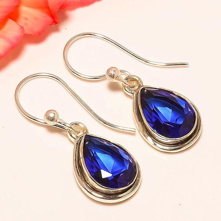 """London Blue Topaz Vintage Style 925 Sterling Silver Jewelry Earring 1.38"""" #Handmade #DropDangle"""