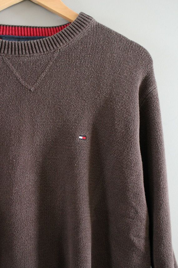 Tommy Hilfiger Sweater Brown Cotton Sweater Brown by Amilialia