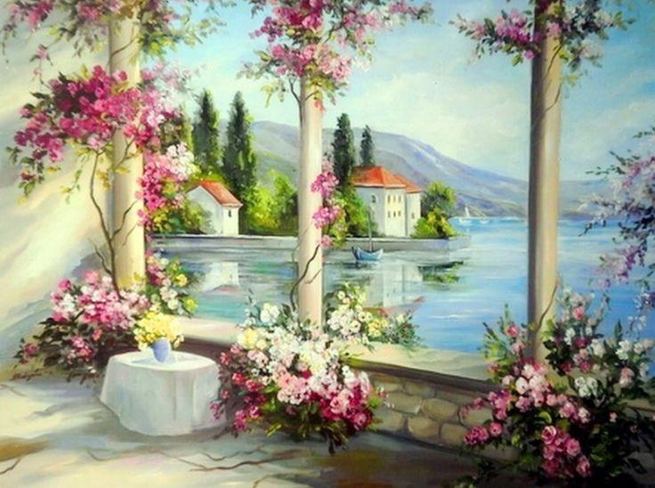 Pintura y Fotografía Artística : Ventanas con Flores al Óleo, Anca Bulgaru
