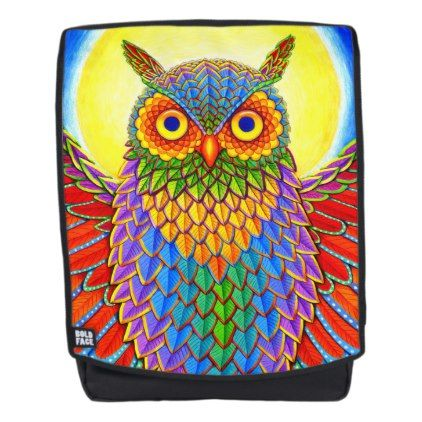 #Colorful Rainbow Owl backpack - #travel #accessories