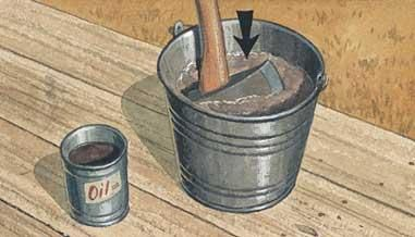 Pour a quart of used motor oil into a bucket of clean sand and store it in the woodshed. Each time you finish using your axe, plunge the head into the oily sand and rub it back and forth. This will clean the blade of dirt and debris, prevent it from rusting, and keep the shaft swelled tight in the a