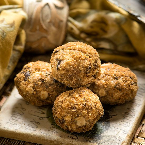 Raw Sunflower Seed Protein Balls Recipe Desserts with almonds, sunflower seeds, oats, coconut sugar, cacao nibs, Himalayan salt, coconut butter