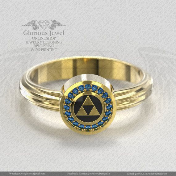 Glorious legend of Zelda hyrule triforce inspired ring CZ