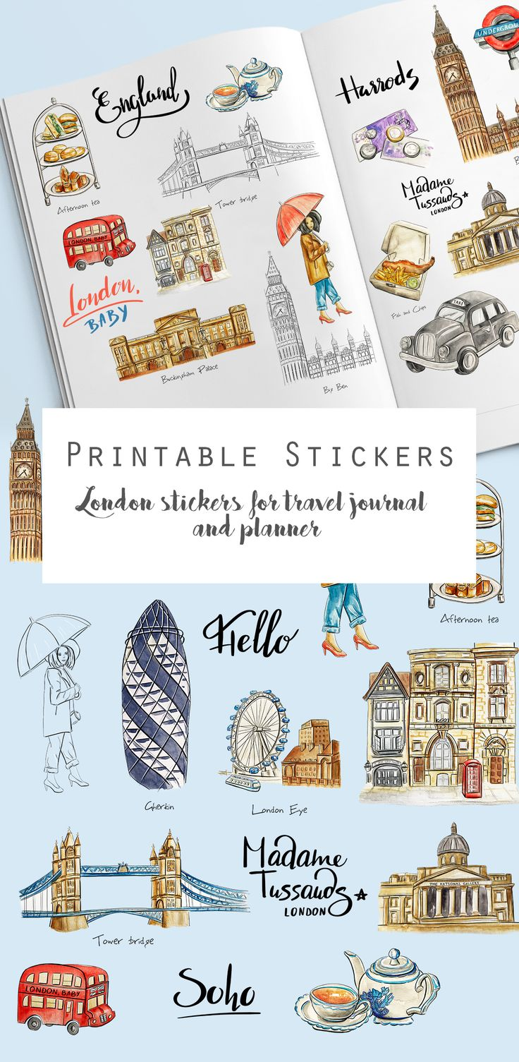 London sticker pack for travel journal or planner Printable Travel England UK clip art Watercolor trip or vacation planning digital stickers