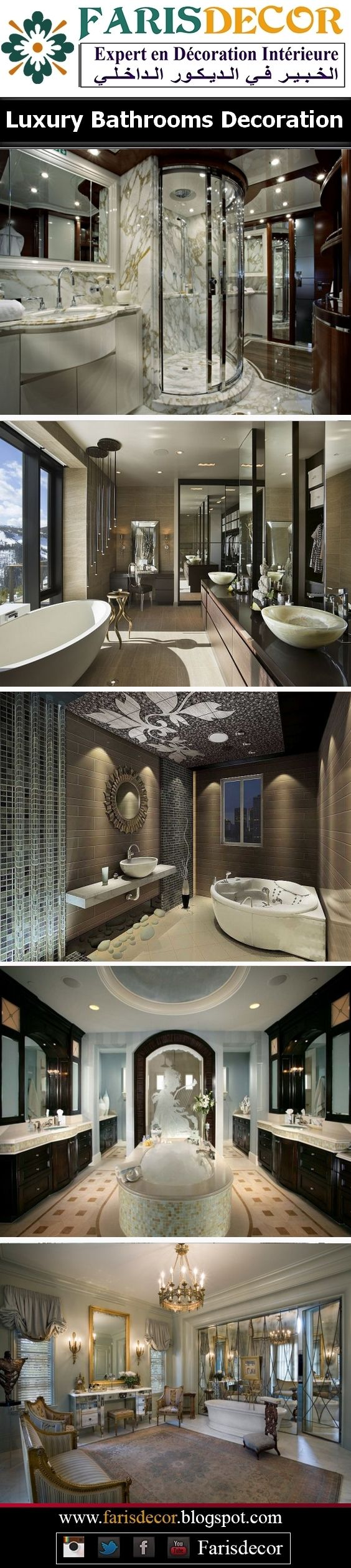 Luxury Bathrooms Decoration #Décoration #Architecture #House #Mobilier #Jardinage #Moderne #Floors #Ceiling #Wall #Afrique #Europe #Casablanca #Maroc #Morocco