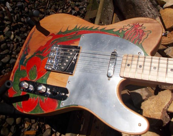 Pyrograph partscaster  one of a kind T type by JohnWoodBarclay