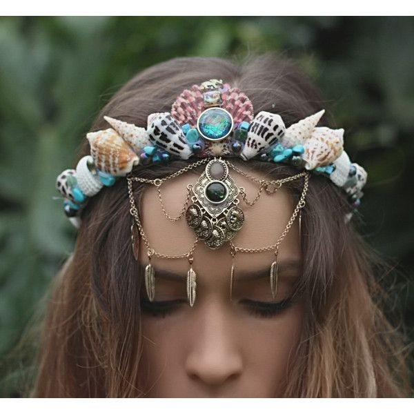 gypsy crown ($75) ❤ liked on Polyvore featuring home, home decor, mermaid home decor and handmade home decor